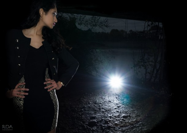 Karishma in car headlights