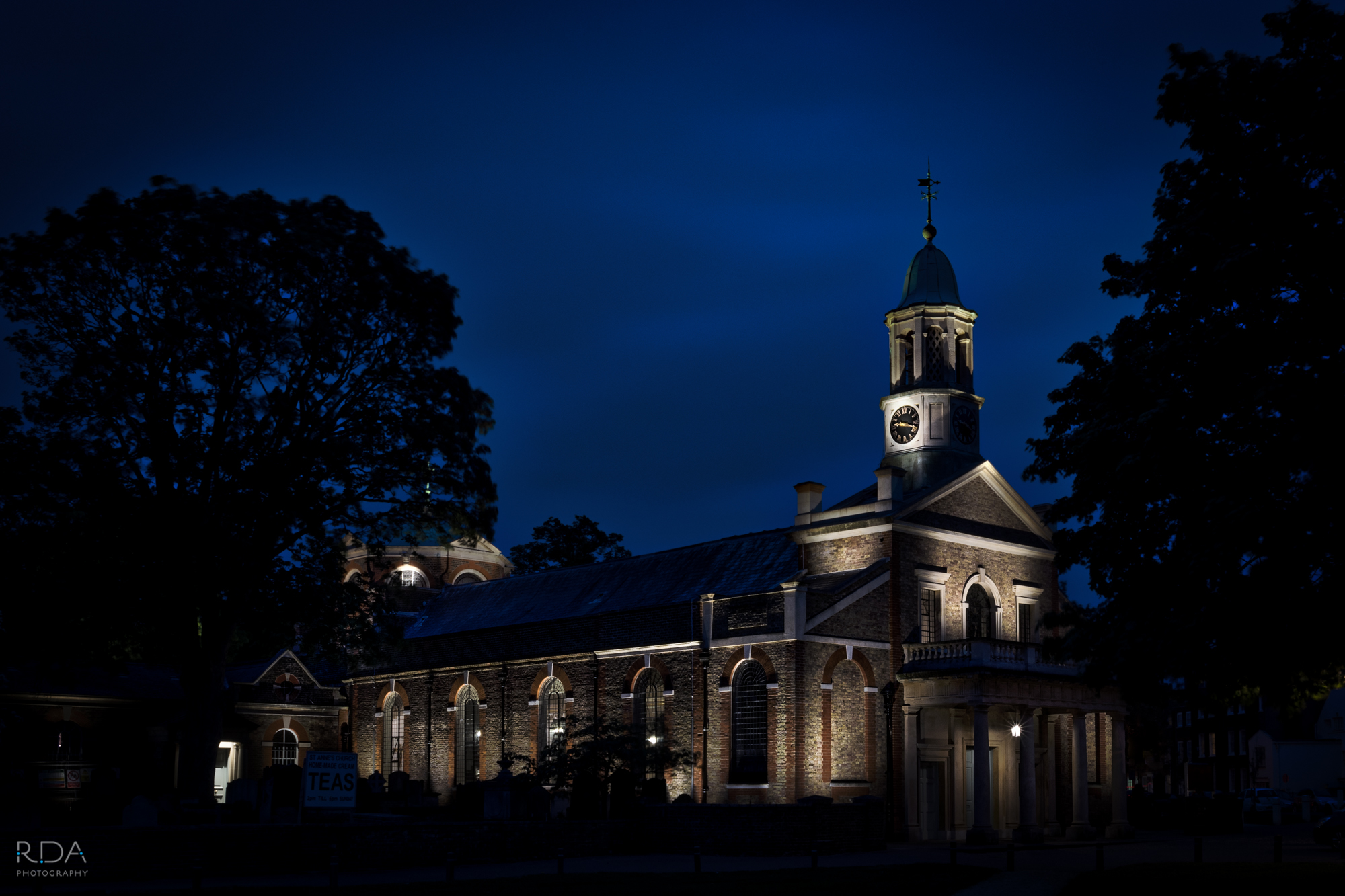 St. Anne's Kew Church at night
